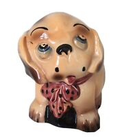 Vtg 1940s Cute Sad Spaniel in Puppy Dog Kitsch Bow Big Blue Eyes Made in England