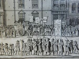 Somerset House London Procession Carriages Parade 1829 engraved street scene