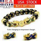 Feng Shui Black Obsidian Bead Pi Xiu Bracelet Attract Wealth Good Luck Bangle US