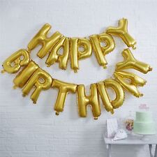 """16"""" Gold Self Inflatable Happy Birthday Balloons Party Banner Decorations Large"""