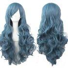 fashion costume women curly wavy hair full long wigs cosplay halloween blue wig