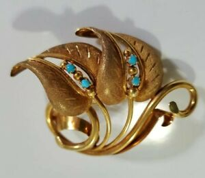 Vintage 18K Yellow Gold Turquoise Leaf Pin /Brooch 10.25G Made in Italy