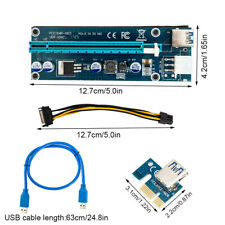 PCI-E Express USB3.0 1x to 16x Extender Riser Card Adapter SATA Power Cable
