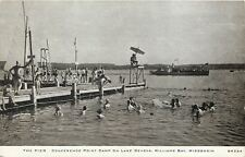 Williams Bay Wisconsin~Swimming at Pier~Conference Point Camp Life Guard '42