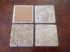 New listing Db#3 Four (4) Natural Stone Dark Beige Absorbent 4X4 Tumbled Travertine Coasters