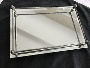 beveled edge mirror perfume tray unpolished silver rails / feet