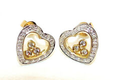 9CT HALLMARKED YELLOW GOLD 0.35CTS GENUINE DIAMOND FLOATING HEART STUD EARRINGS