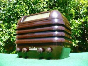 STUNNING 1940's Vintage Art Deco KRIESLER 'BEEHIVE' Brown Bakelite Valve Radio