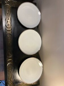THOMAS OF GERMANY 3 X PORCELAIN THICK PLATINUM BAND LARGE TEA/SALAD PLATES
