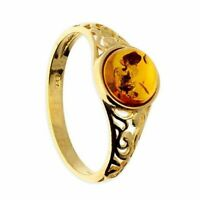 Sterlingsilber Ring Vergoldet Cognac Bernstein Perlen Gerahmt Mit Ausgeschnitten