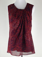 COLDWATER CREEK S'less Chiffon Paisley Scoop Neck Blouse (Lined) - S, Burgundy