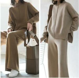 Women Lady Cashmere Wool Knitted Sweater Pullover+Wide Leg Pants 2Pcs Casual Set