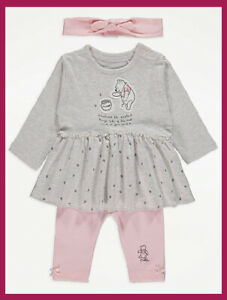 Disney Baby Girls  Winnie the Pooh Dress Headband and Leggings  Outfit