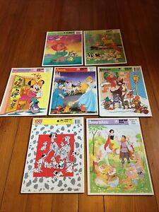 Lot of 7 Vintage Golden Book & Disney Frame-Tray Puzzles Bambi Little Mermaid++