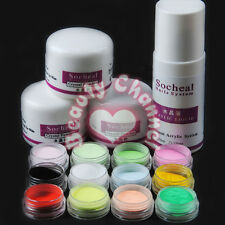 12pc Colored Acrylic Powder Acrylic Liquid 75ml Set Nail Art Pro Tool Kit Sets