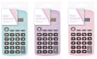 Pocket Calculator Pastel Colours Battery Operated Back To School Office PTPC