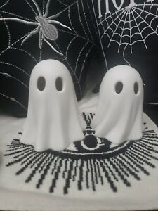 Flying Tiger Halloween Pair of white Ceramic Ghost ornaments light up tkmaxx