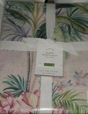 "New Pottery Barn Lia Palm Birds Shower Curtain Multi 72"" Pink"
