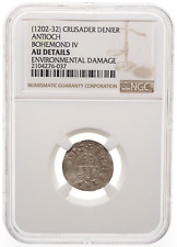 CRUSADERS. Bohemond IV Silver Denier, 1202-32 AD. NGC AU Details