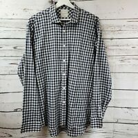 Billy Reid Standard Cut Long Sleeve Navy Plaid Button Down Shirt Mens Size XL