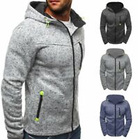 Veste à capuche Homme Hiver Slim Sweat Chaud Sweatshirt Manteau Outwear Chandail