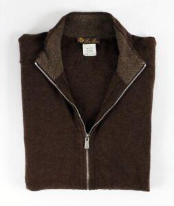 $1850 LORO PIANA 100% CASHMERE Full Zip Bomber Sweater - Brown - 50 Large