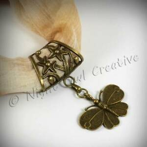 Scarf Ring Jewellery, Scarf Clip, Antique Bronze Butterfly Pendant, FREE pouch