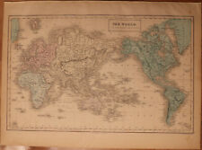 """1856 Black's World Mercator's Projection - Map 17.2"""" x 12.6"""" - Antique"""