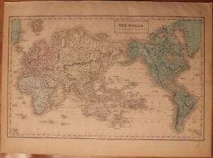 "1856 Black's World Mercator's Projection - Map 17.2"" x 12.6"" - Antique"