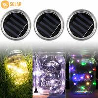 3 Pack Solar Powered Mason Jar Lid 10 LED Fairy Light String Lights Garden Decor