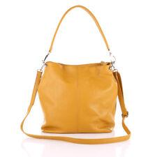 Shopper Schulter Umhänge Hand Tasche Italy Leder Gelb Crossover Bag Börse Pelle!