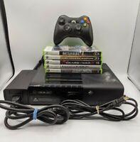 Microsoft Xbox 360 E Slim 250GB Bundle Console 1538, Controller, Cords 5 Games