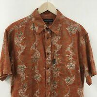 Vintage Mens Large SASSON Short Sleeve Shirt Dragon Orient -SUPER-  8c