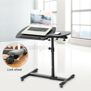 Movable Rolling Laptop Desk Height Adjustable Folding Over Bed Sofa Table Stand
