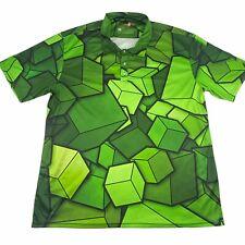 Play Loud Golf Green 3D Blocks Short Sleeve Men's Casual Polo Golf Shirt XXL