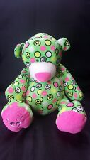 """Ganz Justice Smiley Face Green And Pink Bear Plush 14"""" Stuffed Animal"""