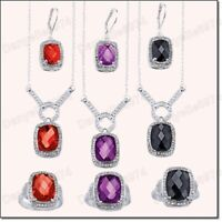 AVON JEWELLERY SET earrings,pendant chain,ring CRYSTAL RHINESTONE SILVER FASHION
