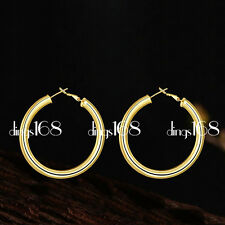 18K Yellow Gold Filled Classic 35mm Medium size Round Hoop Earrings Jewelry JC3