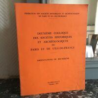 colloque des Sociétés Historiques et Archéologiques de Paris Rambouillet 1977