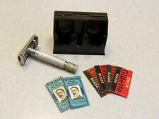 Vintage Británico Gillette cohete de Safety Razor Inglaterra W Baquelita Hoja Vault