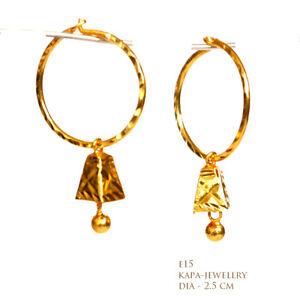 18ct Gold Plated Plain designer large Hoop Earrings 25 mm. KAPA INDIAN JEWELERY