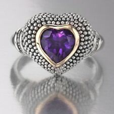 Torello Amethyst Heart Ring, 1.22 CTW in 14k Gold & Sterling Silver, Size 8