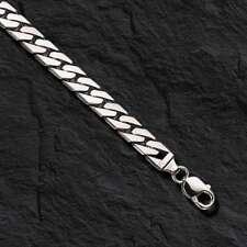 """10kt solid WHITE gold Handmade Curb Link Mens Bracelet 8"""" 33 Grams 8 MM"""