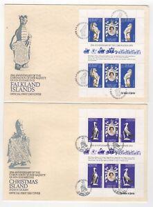 1978 FALKLAND & CHRISTMAS ISLANDS - 2 x First Day Covers QEII CORONATION ANNIV