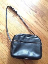 Vtg Small Vinyl Camera Bag Purse Vegan Black
