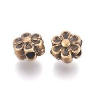 100pc Antique Bronze Tibetan Zinc Alloy  Flower Beads Spacer Lead Free 6.5x4.5mm