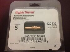 GENUINE HYPERTHERM - HYLIFE ELECTRODES MAX70/80/100/100D - 120433 - 2 PACKS OF 5