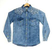 Ryan Michael Western Shirt Embroidered Size Medium 100% Cotton Blue Denim