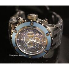 Invicta Subaqua GMT Quartz Chrono Blue Bezel Black Strap Gunmetal Mens Watch