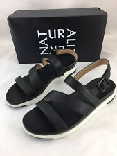 Naturalizer Andrea Sport Black Smooth Sandals Womens 7.5 W Wide Slingback New